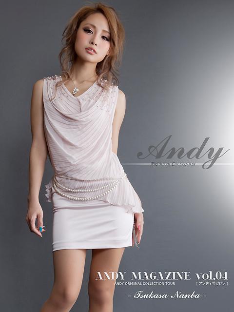 画像2: [ツカサちゃん着用][ANDY][ベージュ][ピンク][ブラック][ホワイト]ドレプ・プリーツ・シフォン・パールのベルト付き・贅沢パール&ビジュー・ミニドレス・ワンピース《送料&代引き手数料無料》