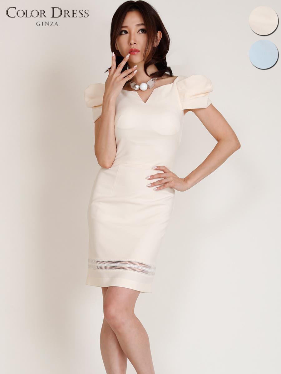 画像1: [Angel R][山崎みどり・れお着用][姉ageha]胸元カット・パフスリーブ・ボリューム袖・タイト・エレガンス・ミニドレス・ワンピース《送料&代引き手数料無料》