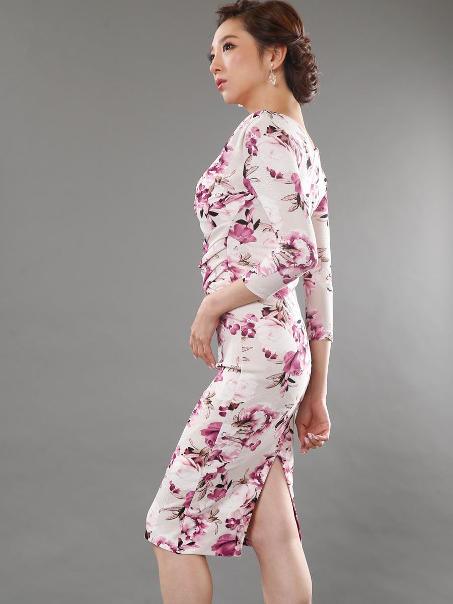 画像2: [人気沸騰中!!再入荷][COLORDRESS] [山崎みどり着用][姉ageha]花柄・アイボリー×パープル・七分袖・Vネック・ミディアムドレス・ワンピース[送料無料]