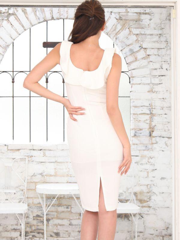 画像3: [COLORDRESS] [山崎みどり着用][姉ageha]シンプル・無地・胸元フリル・ノースリーブ・ミディアムドレス・ワンピース[送料無料]【mbk】