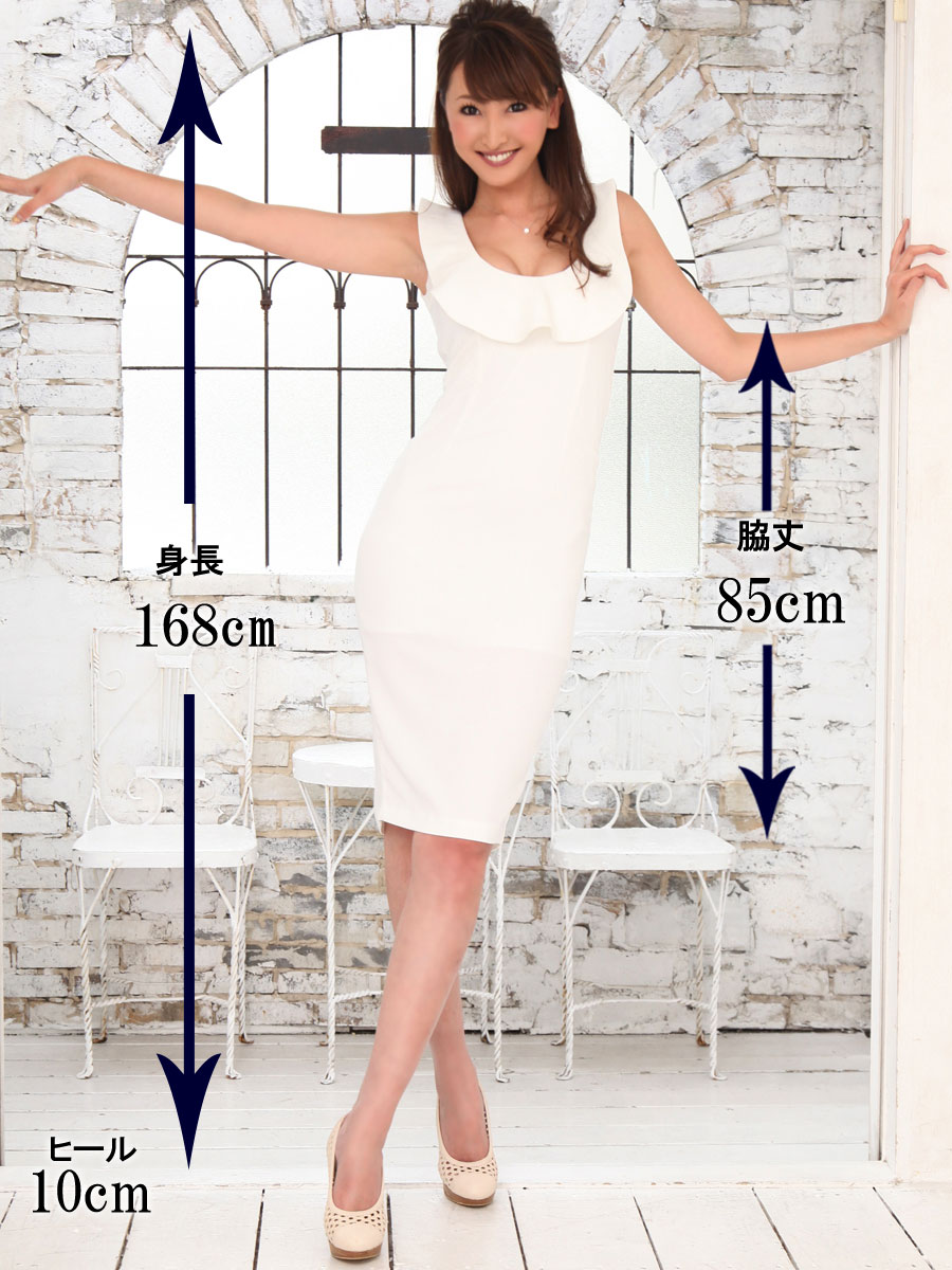 画像5: [COLORDRESS] [山崎みどり着用][姉ageha]シンプル・無地・胸元フリル・ノースリーブ・ミディアムドレス・ワンピース[送料無料]【mbk】