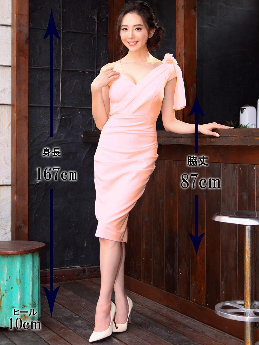 画像5: [COLORDRESS] [早川沙世・山崎みどり着用][姉ageha]シンプル・アシメントリーオフショルダー・シフォン・ハートカット・ドレープ・タイト・ミディアムドレス・ワンピース[送料無料]
