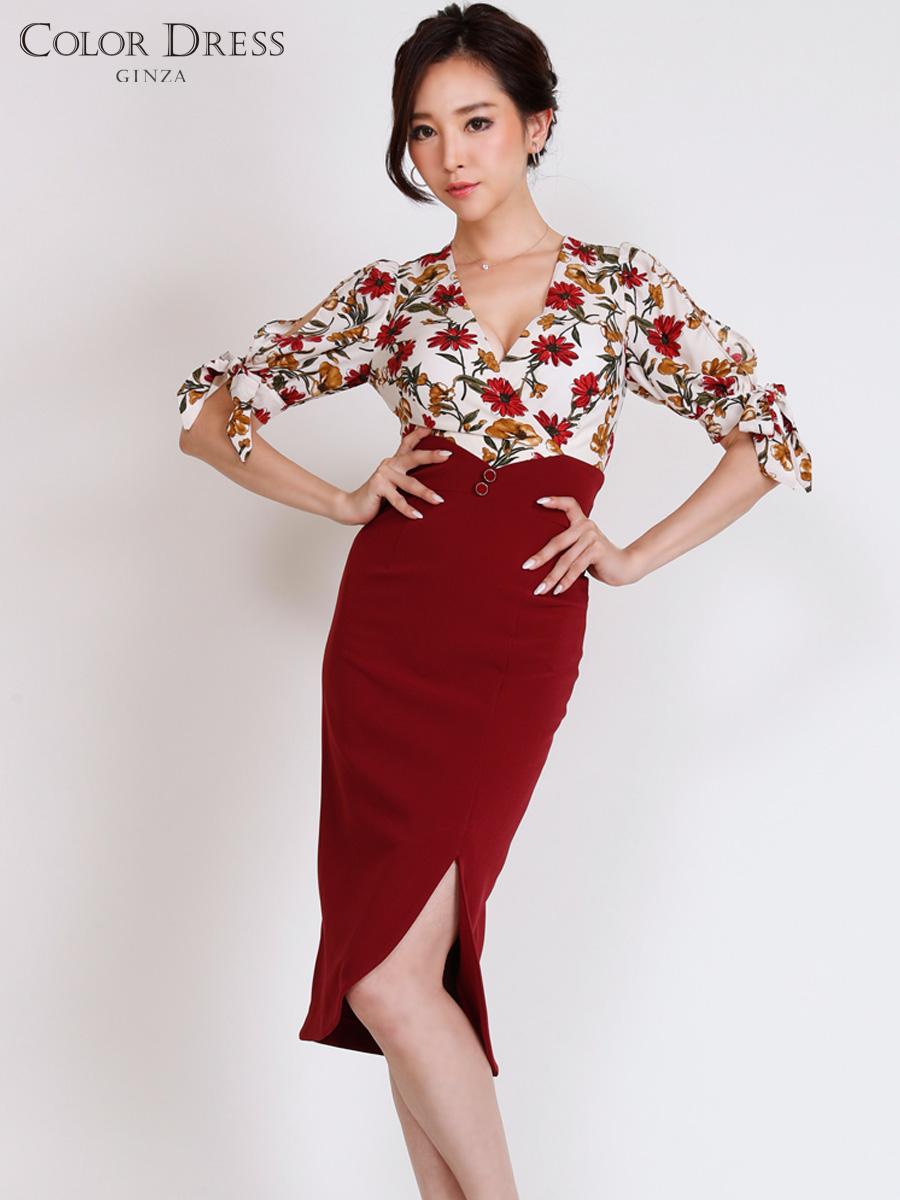 画像1: [COLORDRESS] [山崎みどり着用][姉ageha][韓国製]花柄トップス×ハイウエストスカート・ツーピース風・袖リボン・タイト・ミディアムドレス・ワンピース[送料無料]