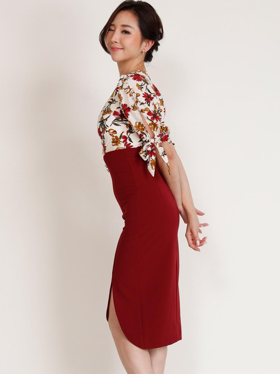 画像2: [COLORDRESS] [山崎みどり着用][姉ageha][韓国製]花柄トップス×ハイウエストスカート・ツーピース風・袖リボン・タイト・ミディアムドレス・ワンピース[送料無料]