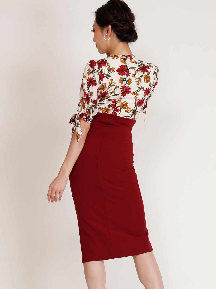 画像3: [COLORDRESS] [山崎みどり着用][姉ageha][韓国製]花柄トップス×ハイウエストスカート・ツーピース風・袖リボン・タイト・ミディアムドレス・ワンピース[送料無料]