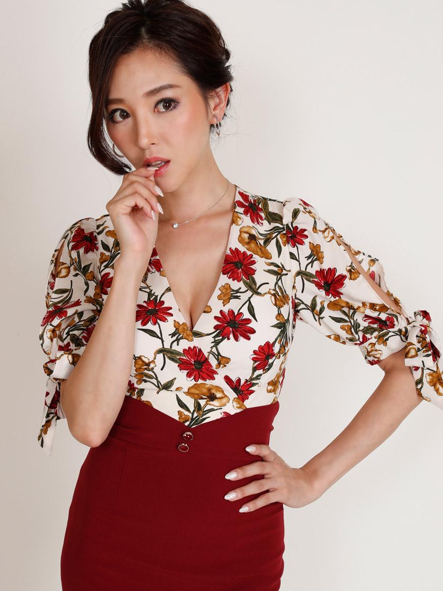 画像4: [COLORDRESS] [山崎みどり着用][姉ageha][韓国製]花柄トップス×ハイウエストスカート・ツーピース風・袖リボン・タイト・ミディアムドレス・ワンピース[送料無料]