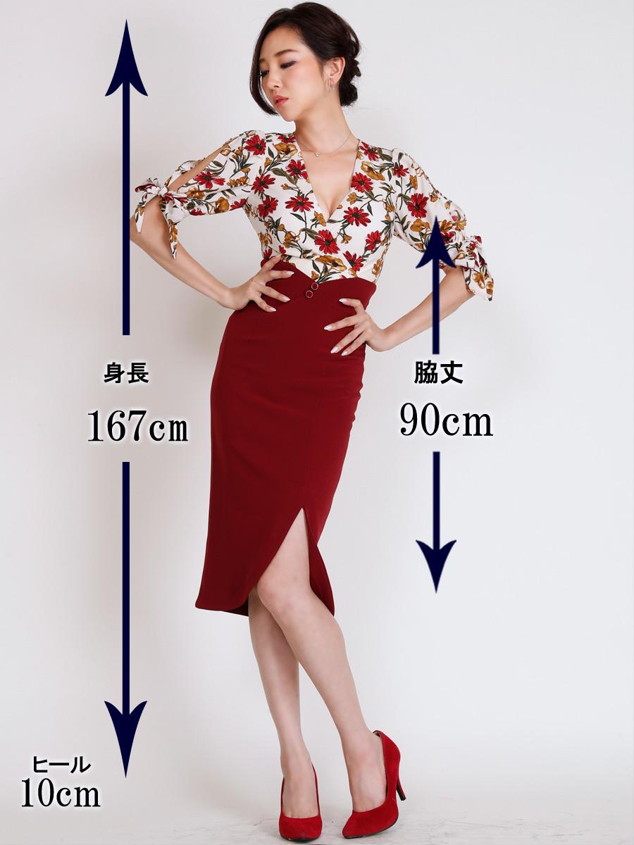 画像5: [COLORDRESS] [山崎みどり着用][姉ageha][韓国製]花柄トップス×ハイウエストスカート・ツーピース風・袖リボン・タイト・ミディアムドレス・ワンピース[送料無料]