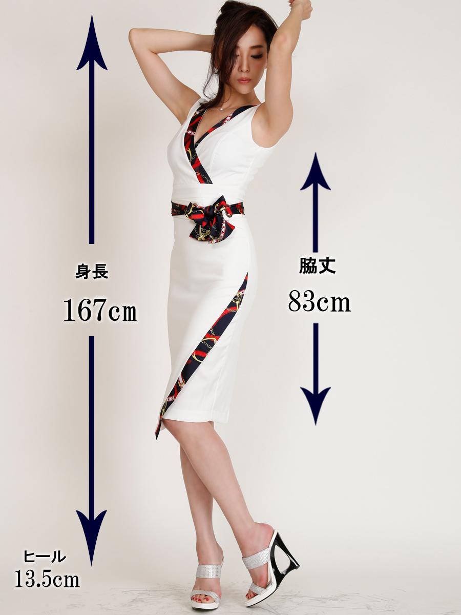 画像5: [COLORDRESS] [山崎みどり着用][姉ageha]ホワイト×スカーフ柄・Vネック・ノースリーブ・タイト・ミディアムドレス・ワンピース[送料無料]