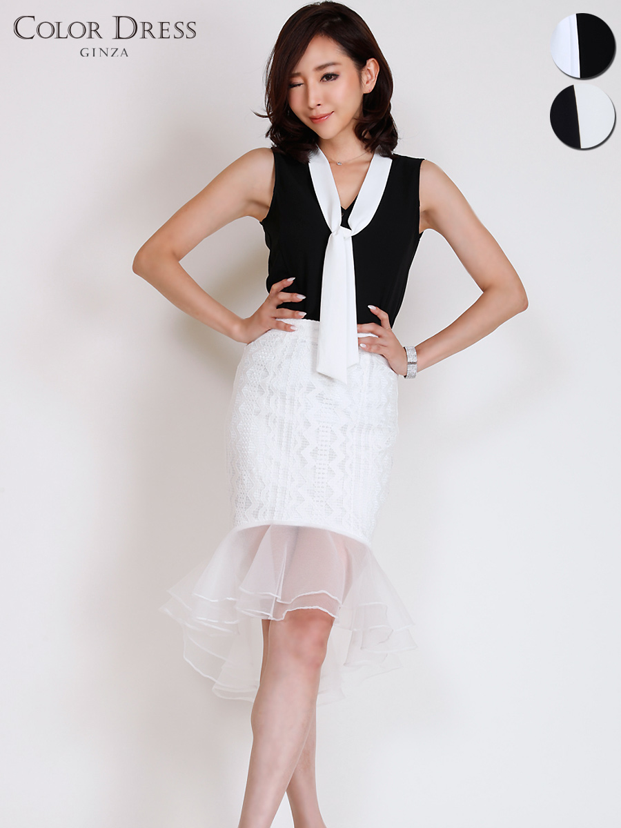 画像1: [COLORDRESS] [山崎みどり着用][姉ageha][韓国製]リボンタイ・ノースリーブブラウン・ヘムデザイン・フリルミディアムスカート・セットアップ・ツーピース[送料無料]【mbkwh】