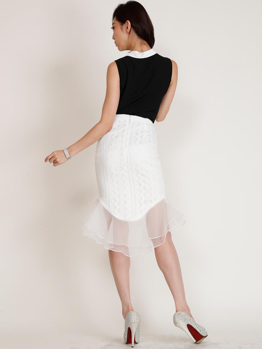 画像3: [COLORDRESS] [山崎みどり着用][姉ageha][韓国製]リボンタイ・ノースリーブブラウン・ヘムデザイン・フリルミディアムスカート・セットアップ・ツーピース[送料無料]【mbkwh】