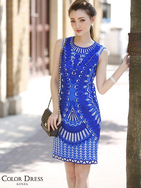 画像1: [LK] [渚着用]ブルー・刺繍・立体・ノースリーブ・タイト・ミニドレス・ワンピース《送料&代引き手数料無料》