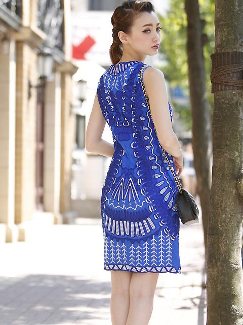 画像3: [LK] [渚着用]ブルー・刺繍・立体・ノースリーブ・タイト・ミニドレス・ワンピース《送料&代引き手数料無料》