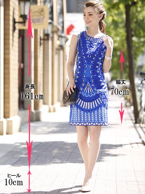 画像5: [LK] [渚着用]ブルー・刺繍・立体・ノースリーブ・タイト・ミニドレス・ワンピース《送料&代引き手数料無料》