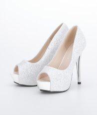 画像2: [靴]12cmヒール・前厚 4cmストーム・グリッター・メタルヒール・ハイヒール パンプス (2)