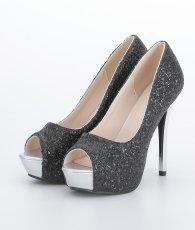 画像3: [靴]12cmヒール・前厚 4cmストーム・グリッター・メタルヒール・ハイヒール パンプス (3)