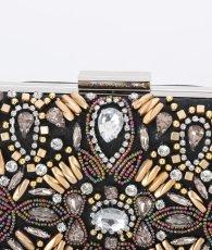 画像6: [バッグ]チェーン付き・2WAY・キラキラ・パーティーバッグ・結婚式・ブラック・ビジュー・キャバハンドバッグ (6)