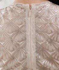 画像8: [BCBG MaxAzria]シャンパンゴールド・ノースリーブ・幾何学模様スパンコール刺繍・ロングドレス[山崎みどり着用]《送料&代引き手数料無料》 (8)