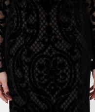 画像11: [BCBG MaxAzria][山崎みどり着用]ブラック系・ヴェルベットレース・ベージュ・胸元カット・長袖・タイト・ロングドレス・ワンピース《送料&代引き手数料無料》 (11)