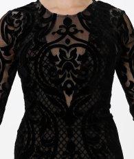 画像7: [BCBG MaxAzria][山崎みどり着用]ブラック系・ヴェルベットレース・ベージュ・胸元カット・長袖・タイト・ロングドレス・ワンピース《送料&代引き手数料無料》 (7)