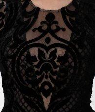 画像8: [BCBG MaxAzria][山崎みどり着用]ブラック系・ヴェルベットレース・ベージュ・胸元カット・長袖・タイト・ロングドレス・ワンピース《送料&代引き手数料無料》 (8)