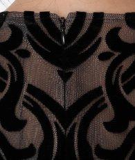 画像9: [BCBG MaxAzria][山崎みどり着用]ブラック系・ヴェルベットレース・ベージュ・胸元カット・長袖・タイト・ロングドレス・ワンピース《送料&代引き手数料無料》 (9)