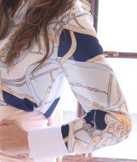 画像11: [rinfarre]ピンク系・スカーフ柄ブラウス・ハイウエストパンツ・スーツ・セットアップ・ツーピース[山崎みどり着用][送料無料]my (11)