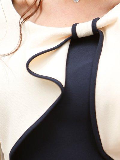 画像1: [お問い合わせ多数!!再入荷][韓国製][Rinfarre] [薗田杏奈着用]大人・バイカラー・ボレロ風・リボンモチーフ・七分袖・タイト・ミディアムドレス・ワンピース[送料無料]