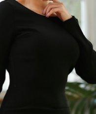 画像6: [お問い合わせ多数!!再入荷][韓国製][rinfarre][山崎みどり着用][姉ageha]ブラック・背中開きデザイン・ゴールドチェーン・シンプル・長袖・ミディアムドレス・ワンピース[送料無料] (6)