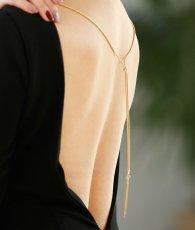 画像7: [お問い合わせ多数!!再入荷][韓国製][rinfarre][山崎みどり着用][姉ageha]ブラック・背中開きデザイン・ゴールドチェーン・シンプル・長袖・ミディアムドレス・ワンピース[送料無料] (7)