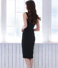 画像5: [韓国製][Rinfarre]ネイビー・シンプル・無地・大人・ノースリーブ・タイト・ミディアムドレス・ワンピース[MIRIN着用][送料無料] (5)