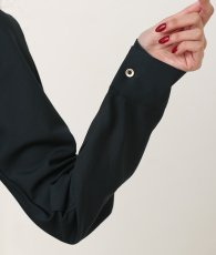 画像11: [韓国製][rinfarre]ダークグリーン・カシュクール・ラップ・長袖・シンプル・開襟・ミディアムドレス・ワンピース[関あいか着用][送料無料] (11)
