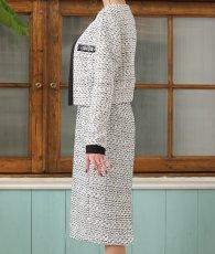 画像7: [韓国製][Rinfarre]ツイード・ブラックホワイト・ベア・ジャケット・タイト・ミディアムドレス・ワンピース・セットアップ[関あいか着用]《送料&代引き手数料無料》 (7)