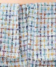 画像11: [韓国製][rinfarre]ライトブルー・ツイード・ベルト付・開襟・長袖・飾りボタン・マーメイド・ミディアムドレス・ワンピース[黒木麗奈着用]《送料&代引き手数料無料》 (11)