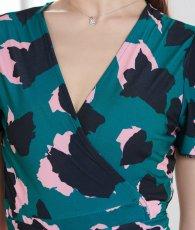 画像9: [韓国製][Rinfarre]グリーン×ピンク・プリント・柄・サマー・カシュクール・半袖・マキシ・ミディアムドレス・ワンピース[MIRIN着用][送料無料 (9)