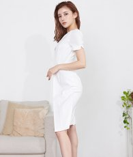 画像2: [韓国製][rinfarre]ホワイト・レイヤードスタイル・半袖・バックル・スカーフ・ミニ・ドレス・ ワンピース[MIRIN着用][送料無料] (2)