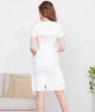 画像3: [韓国製][rinfarre]ホワイト・レイヤードスタイル・半袖・バックル・スカーフ・ミニ・ドレス・ ワンピース[MIRIN着用][送料無料] (3)