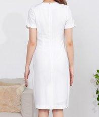 画像8: [韓国製][rinfarre]ホワイト・レイヤードスタイル・半袖・バックル・スカーフ・ミニ・ドレス・ ワンピース[MIRIN着用][送料無料] (8)