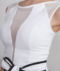 画像9: [韓国製][Rinfarre]ノースリーブ・ホワイト×ブラックパイピングリボン・タイト・ミディアム・ドレス・ワンピース[MIRIN着用][送料無料] (9)