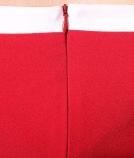 画像10: [韓国製][rinfarre]オフショルダー・レッド×ホワイトレース・サイドスリット・リボン・五分袖・ミディアムドレス・ワンピース[黒木麗奈着用][送料無料] (10)
