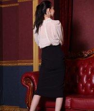 画像3: [韓国製][rinfarre]ドットブラウス・ブラックレースポイントミディアムスカート・セットアップ・ツーピース[黒木麗奈着用][送料無料] (3)
