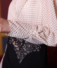 画像10: [韓国製][rinfarre]ドットブラウス・ブラックレースポイントミディアムスカート・セットアップ・ツーピース[黒木麗奈着用][送料無料] (10)