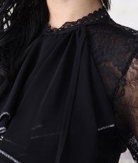 画像9: [韓国製][rinfarre]ブラック×レッド・トップスレース・フロントフリル・切り替え・長袖・タイト・ミディアムドレス・ワンピース[MIRINちゃん着用]《送料&代引き手数料無料》 (9)