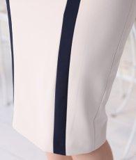 画像12: [rinfarre]ベージュ×ネイビー・胸元ネット・七分袖・シンプル・バイカラー・ミディアムドレス・ワンピース[MIRIN着用][送料無料] (12)