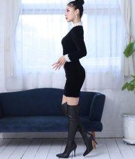 画像2: [韓国製][rinfarre]ショートドレス・ベルベット・ブラック・ホワイトレースポイント・長袖・タイト・ミニドレス・ワンピース[MIRIN着用][送料無料] (2)
