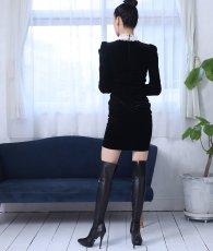 画像3: [韓国製][rinfarre]ショートドレス・ベルベット・ブラック・ホワイトレースポイント・長袖・タイト・ミニドレス・ワンピース[MIRIN着用][送料無料] (3)