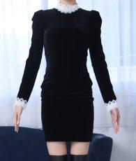 画像6: [韓国製][rinfarre]ショートドレス・ベルベット・ブラック・ホワイトレースポイント・長袖・タイト・ミニドレス・ワンピース[MIRIN着用][送料無料] (6)