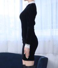 画像7: [韓国製][rinfarre]ショートドレス・ベルベット・ブラック・ホワイトレースポイント・長袖・タイト・ミニドレス・ワンピース[MIRIN着用][送料無料] (7)