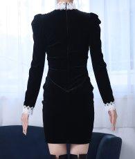 画像8: [韓国製][rinfarre]ショートドレス・ベルベット・ブラック・ホワイトレースポイント・長袖・タイト・ミニドレス・ワンピース[MIRIN着用][送料無料] (8)