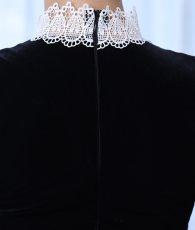 画像10: [韓国製][rinfarre]ショートドレス・ベルベット・ブラック・ホワイトレースポイント・長袖・タイト・ミニドレス・ワンピース[MIRIN着用][送料無料] (10)