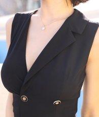 画像9: [韓国製][rinfarre]ブラック・片襟 ・前ボタン・個性的・アシメントリー・ノースリーブ・タイト・ロングドレス[MIRINちゃん着用]《送料&代引き手数料無料》 (9)
